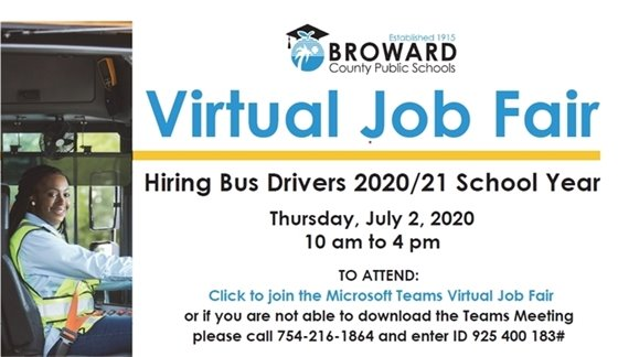 Virtual Job Fair Today through 4pm click on the link to join or join by phone, by dialing 754-216-1864 and when prompted, entering ID 925 400 183#.
