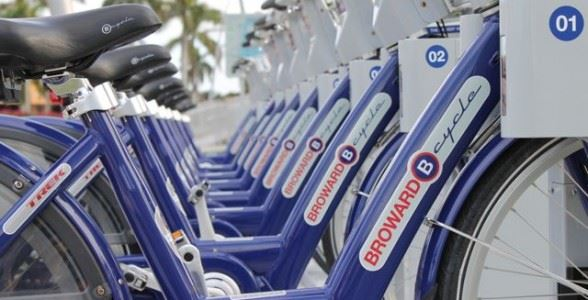 Bike-share bicycles at docking station