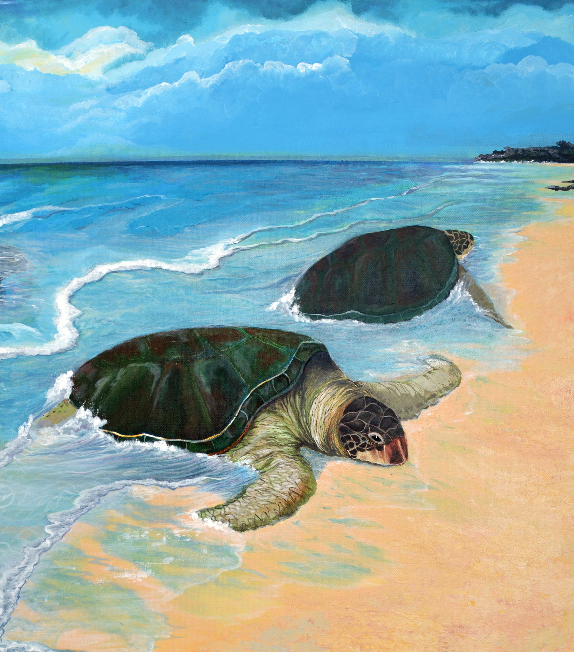 Two turtle nesting