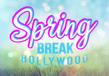 Spring Break 2019 text over image of spring flowers