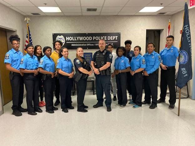 Hollywood Police Department Explorers smiling for a picture.