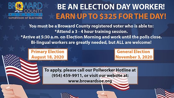 Be an election day worker. Earn up to $325 for the day.