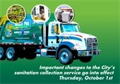 Important Changes to the City's sanitation collection service to go into effect Thursday, October 1st