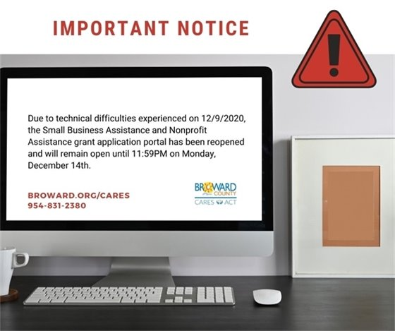 GRANT APPLICATION PORTAL REOPENED UNTIL MONDAY, DECEMBER 14TH