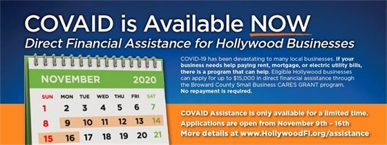Deadline to apply is today, Monday, November 16th at 10:00 p.m. Don't delay! Apply now for a CARES Act Grant for your Hollywood business: Broward.org/Cares