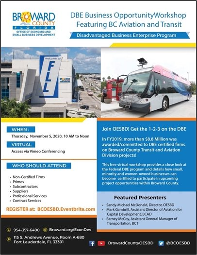 DBE Business Opportunity Workshop Featuring SC Aviation and Transit