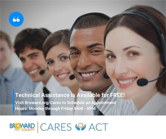 Free technical assistance is available for applicants. Schedule your appointment at Broward.org/Cares