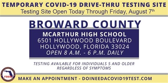 Temporary COVID-19 Drive-thru Testing Site Through Friday, August 7