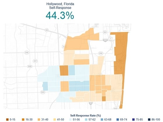 Hollywood Florida self-response 44.3%