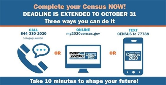 Census 2020: Deadline Extended To October 31