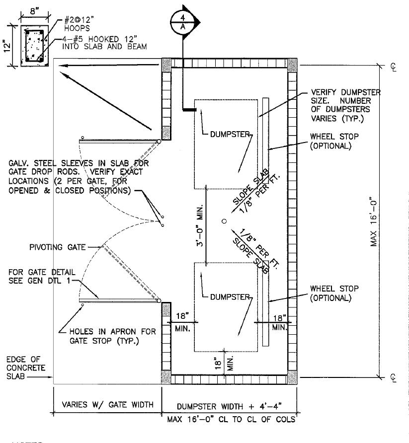 Dumpster Enclosure Drawing Design Plans