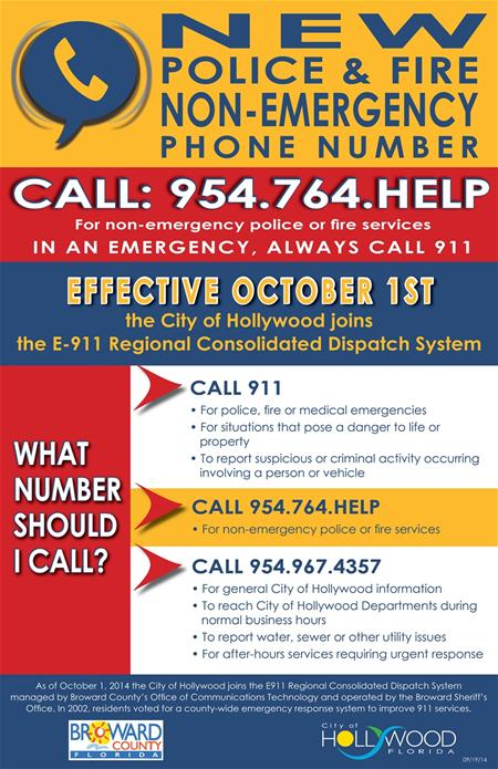 E911%20NonEmergency%20Number%20Poster%20sm_thumb City of Hollywood rolls out new non-emergency phone number Oct. 1