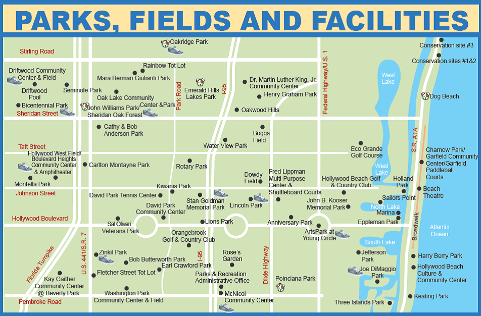 Map Of Hollywood Florida Parks Map | Hollywood, FL   Official Website
